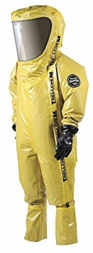 Level C Rear-Entry Encapsulated Suit, Yellow, 3XL, Outer - Butyl Rubber and Viton Rubber Coated Poly