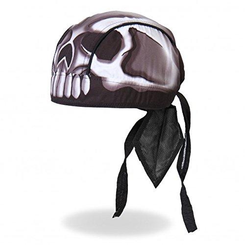 Hot Leathers Authentic Bikers Premium Headwraps, SKULL HEAD - High Quality Micro-Fiber & Mesh Lining HEADWRAP