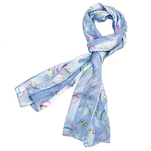 Pastel Blue Easter Silk Feel Scarf with Eggs, Bunnies and Flowers