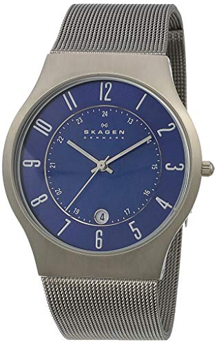 Skagen Men Sundby Quartz Titanium and Stainless Steel Mesh Casual Watch, Color: Grey (Model: 233XLTTN) (Pulsar Mesh Watch)