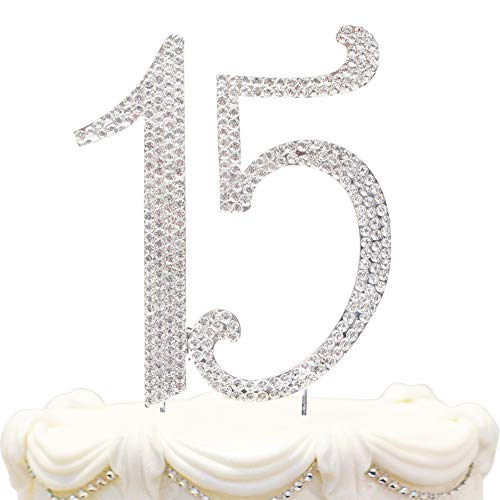 Hatcher lee Bling Crystal Quinceañera Happy 15 Birthday Cake Topper - Best Keepsake | 15th Party Decorations Silver