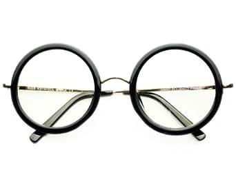 New Retro Vintage Style Large Clear Lens Circle Round Eye Glasses (Black)