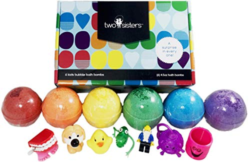 Kids BUBBLE Bath Bombs with Surprise Toys Inside for Boys and Girls by Two Sisters Spa. Set of 6 Large Fizzies in Gift Box. Safe, Fun Colors, Scented, Hand-made in the USA