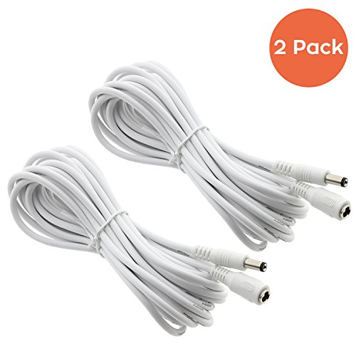 [2 Pack] CCTV 15ft(5m) 2.1mm x 5.5mm DC 12V Power Cord Extension Cable for Security Surveillance Cameras