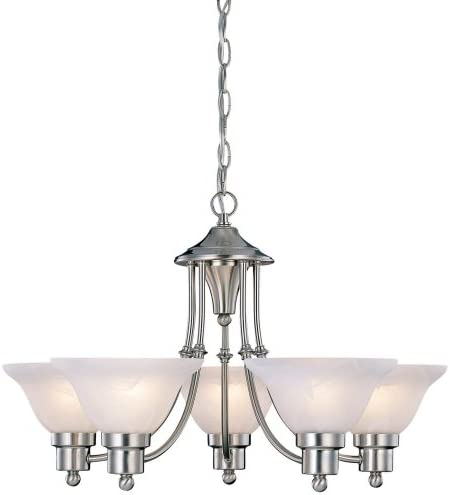 Hardware House 544452 54-4452 Bristol 5 Light Chandelier, 24 x15 , Satin Nickel