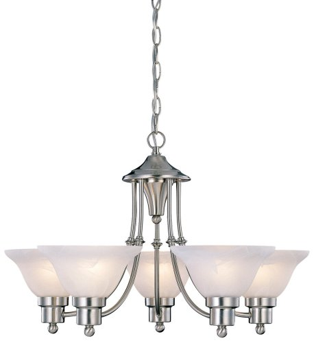 Dining Room Light Fixtures (Hardware House 544452 Bristol 5-Light Chandelier, Brushed Nickel)