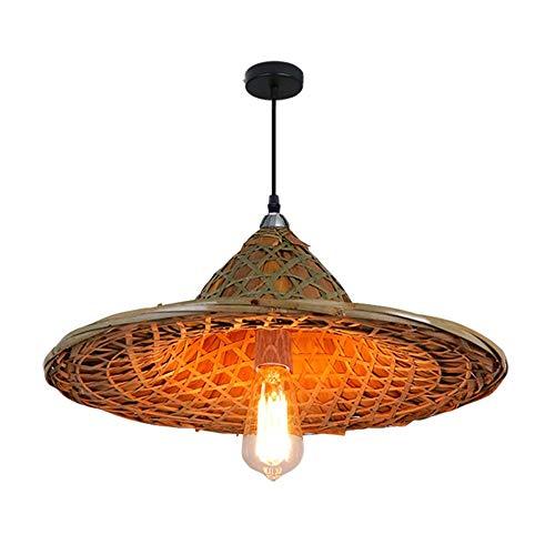 (ZLDSB Bamboo sash hat Chandelier, Bucket lampshade, Straw hat lamp, hot Pot Restaurant Farmhouse Restaurant Decoration Retro Chinese Lamps)