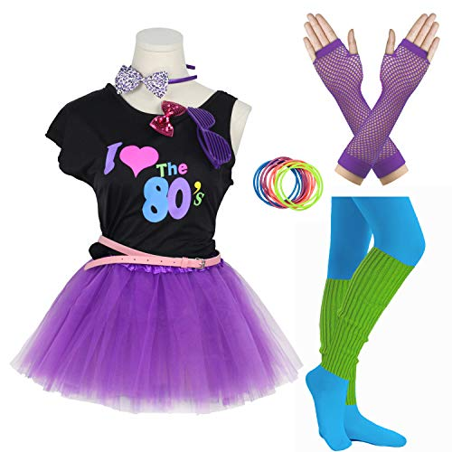 Gilrs 80s Costume Accessories Fancy Outfit Dress for 1980s Theme Party Supplies (Purple, 8-10 Years)