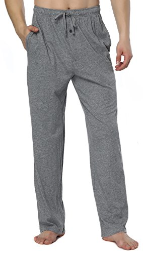 (RENZER Men's Pajamas Pants 100% Knit Cotton Long Lounge Pants-Grey)