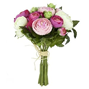 FloristryWarehouse Artificial silk flowers Ranunculus posy bunch Cream 10 stems 9 inches 99
