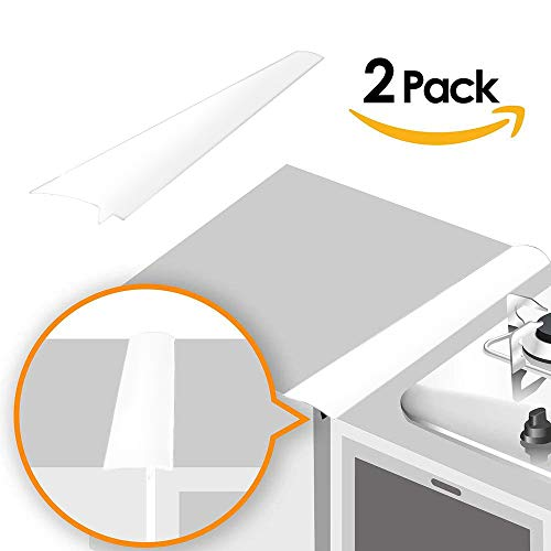 Brown Gas Stove - Linda's Silicone Kitchen Stove Counter Gap Cover Long & Wide Gap Filler (2 Pack) Seals Spills Between Counters, Stovetops, Washing Machines, Oven, Washer, Dryer | Heat-Resistant and Easy Clean (White)