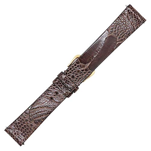 20mm Brown Genuine Ostrich Leg Skin Watch Strap Band - Flat Unstitched - American Factory Direct - Gold and Silver Buckle Included - Made in USA by Real Leather Creations FBA1349