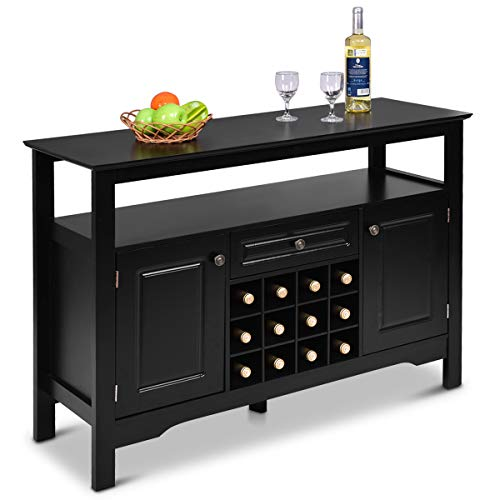 Dining Room Wide Cabinet - Giantex Buffet Server Wood Cabinet Sideboard Cupboard Table Kitchen Dining Room Restaurant Furniture Wine Cabinet with Wine Rack Open Shelf Drawer Cabinets, Black