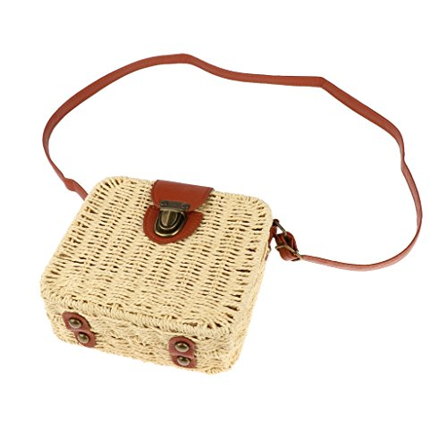 Sharplace Non-brand Tote Shoulder Bag Woman Messenger Bag Straw Vintaje Push Lock Closure For Summer Beach - Beige Beige