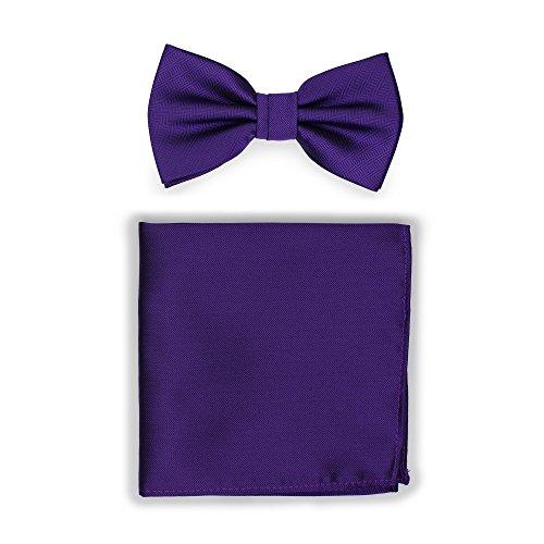 Herringbone Bow - Bows-N-Ties Men's Solid Pre-Tied Bow Tie and Pocket Square Set Matte Herringbone Finish (Regency Purple)