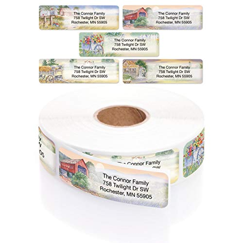 Rural America Scenes Assorted Designer Rolled Address Labels with Elegant Plastic Dispenser