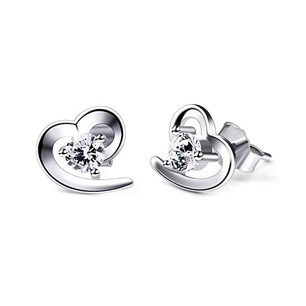 B.Catcher orecchini da donna cuore in argento s925 con zircone a   perno cuoricini
