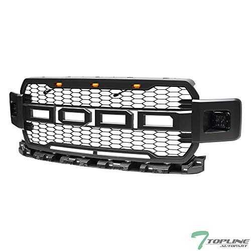 Fog Lamps Billet Grille - Topline Autopart Gray Silver RP Style Honeycomb Mesh Front Hood Bumper Grill Grille ABS with Amber Lamps + 12W CREE LED Fog Lights For 18-19 Ford F150
