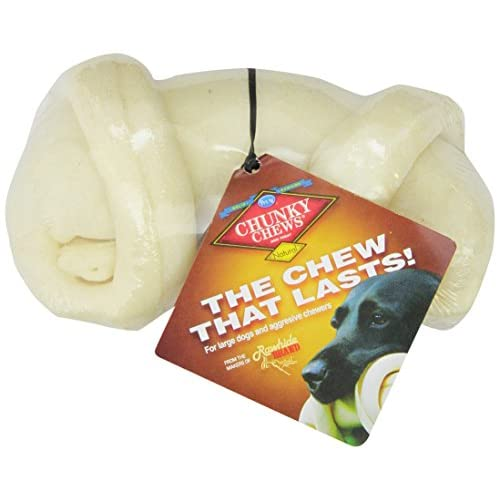 """Chunky Chews® 7""""-8"""" Natural Rawhide Safety-Knot® Bone for Large Dogs 70%OFF"""