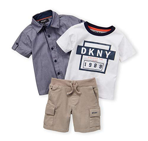 DKNY Boys' Little Sleeve Woven, T-Shirt, and Twill Short Set, Mouse, 6