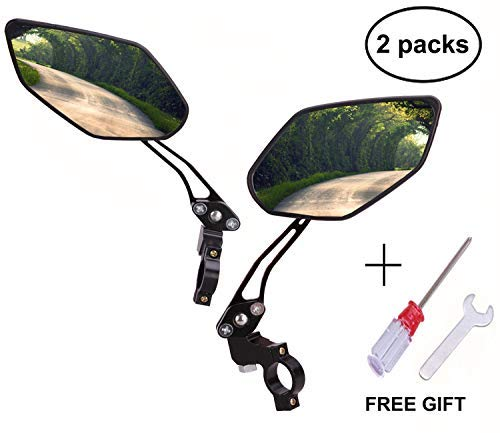 BIKEIN Bike Mirrors (2 Packs) - 360° Full Rotation Adjustable Safety Rearview Mirror for Mountain Bicycle