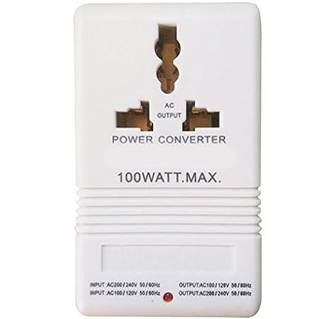 100W 110V 120V A 220V 240V Intensificación Abajo Convertidor De Voltaje Transformador De Doble Canal Convertidor De Energía Blanco: Amazon.es: Electrónica