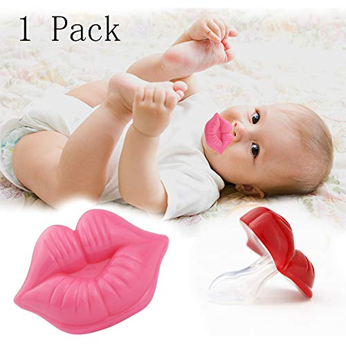 Newborn Silicone Pacifier Funny Lips Nipple Orthodontic for Infants Newborn Baby Soother Pacifiers (Dark Red)