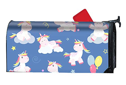Cover Mailbox Team (WilBstrn Cute Unicorn Magic Mailbox Cover-Anti-Fading Weather Resistance-21 x 9inches)