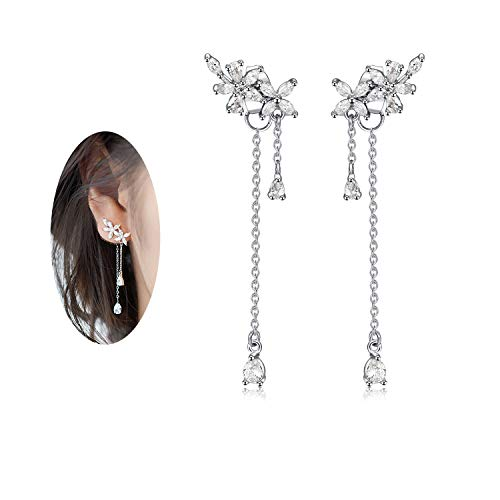 Platinum Plated Crystal Zircon Leaves Ear Jackets and Earrings Set for Women by DOMILINA