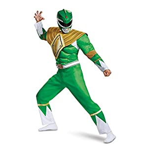 Disguise Mens Green Ranger Classic Muscle Adult Costume
