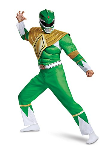 Disguise Men's Green Ranger Classic Muscle Adult Costume, L/XL (42-46) Adult Power Ranger Costume