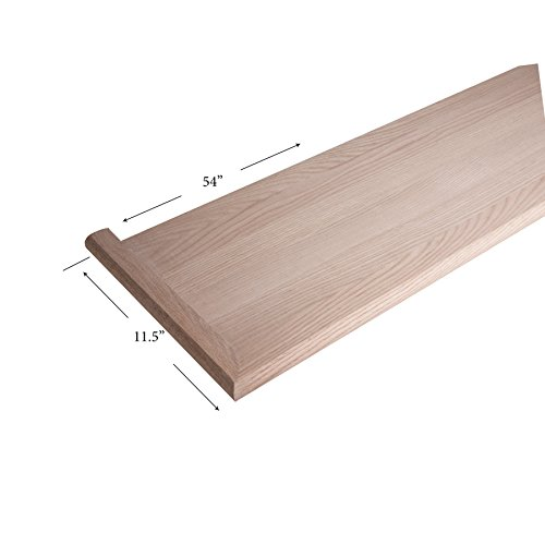 8070-MR 54-inch Reversible Mitered Return Wooden Hardwood Staircase Tread for Stair Remodel ()