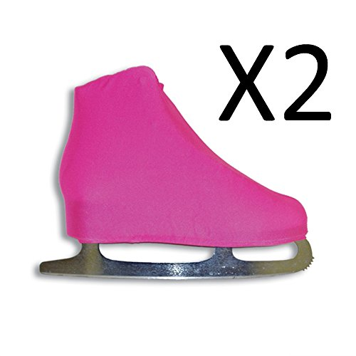 A&R Universal Figure Skate Cover Lycra Stretch Skate Boot Neon Pink 9 (2-Pack) (Boot Lycra Skate Ice Cover)