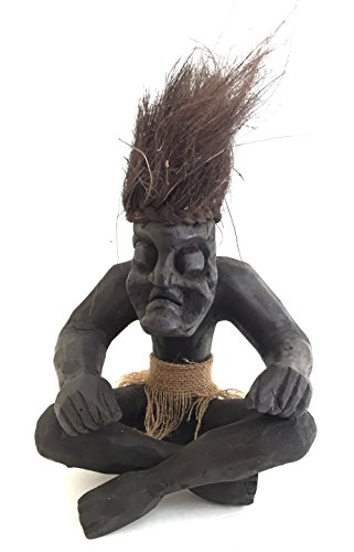OMA African Tiki God Statue Wood Carved Fortune & Happiness African Sculpture Lucky Tiki (Lucky Tiki Mask)