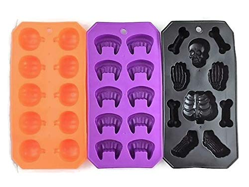 Halloween Flexible Silicone Ice Cube Mold Trays | Fangs Skeleton Bones Pumpkins | Party Set of 3 -