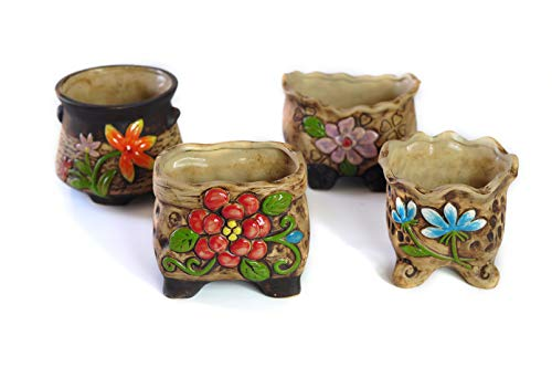 MZ Gardens Handmade Decorative Ceramic Succulent planters pots Flower Pots Planters Containers 4 in 1 Set with Drainage ()