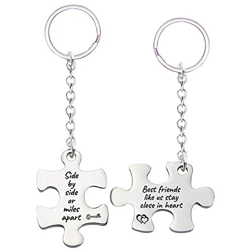 Best Friend Friendship Keychain Gift- Side by Side or Miles Apart Key Chain Set