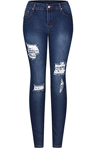 20bedb43b3a3 Galleon - 2LUV Women s Solid Stretchy 5 Pocket Distressed Skinny Jeans Denim  Medium 7