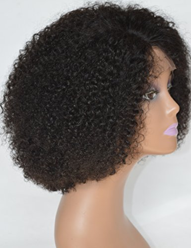 Chantiche Silk Top Invisible Deep Parting Short Kinky Curly Lace Wigs For Black Women Natural Looking Brazilian Remy Human Hair Wigs With Right Part 14 Inch #1B(GL-0103)