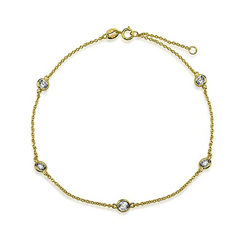 Cubic Zirconia CZ By The Inch Anklet Link Station Ankle Bracelet For Women 14K Gold Plate 925 Sterling Silver 9-10 Inch ()