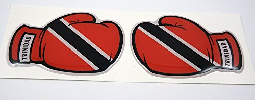 (2 Boxing Gloves Trinidad and Tobago Flag Domed Decal Emblem car stickers)