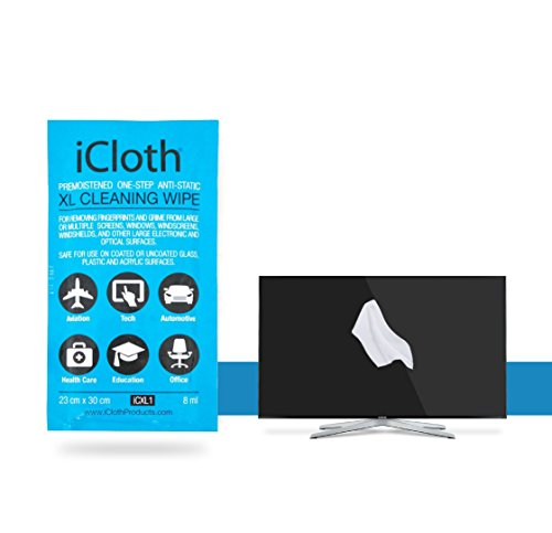 iCloth XL Screen and Multi-Surface cleaning wipes | Single Wipe (each wipe 23cm x 30cm - 8 ml fill ) For use on Multiple Monitors, Whiteboards, LCD LED OLED TV - Eyeglasses Try On
