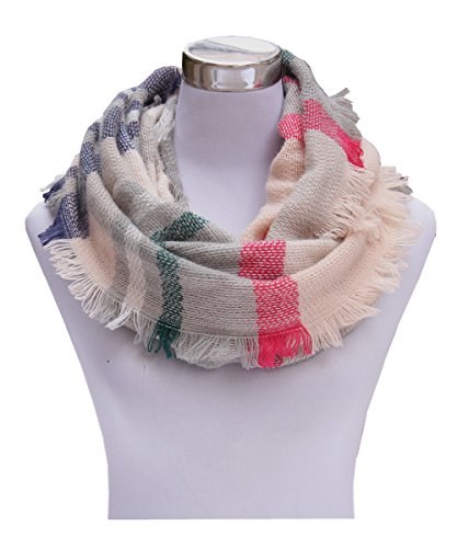 SAFERIN Women Tartan Plaid Infinity Scarf Winter Warm and Soft Circle Loop Scarves for Lady