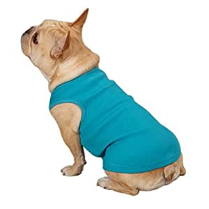 Casual Canine Cotton Basic Ribbed Dog Tank Top, X-Small, 10-Inch, Air Blue