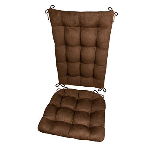 Barnett Products Rocking Chair Cushions - Microsuede Coffee Bean Brown Micro Fiber Ultra Suede - Standard - Reversible, Latex Foam Filled Cushion - Made in USA ()