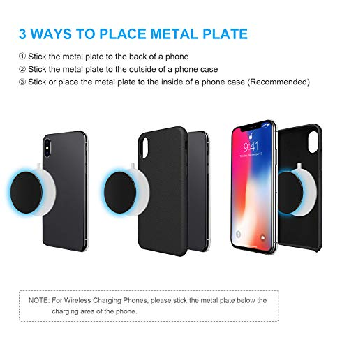 Mount Metal Plates with Protective Films, 6 Pack Universal Metal Disc for Phone Magnetic Car Mount Replacement Sticker, 6 Black Metal Plates and 6 Clear Films