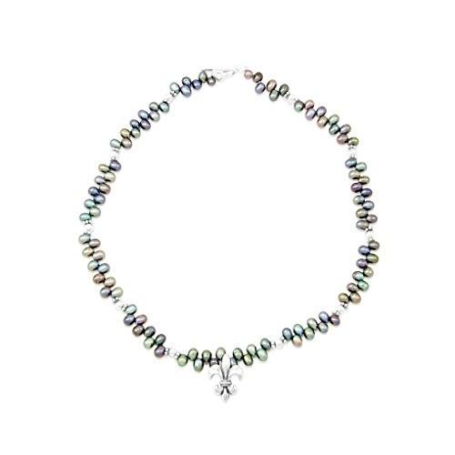 Mignon Faget Fleur de Lis Peacock Freshwater Pearl Necklace, Sterling Silver, 17