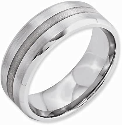 Best Birthday Gift Cobalt Sterling Silver Inlay Satin/Polished Beveled Edge 8mm Band