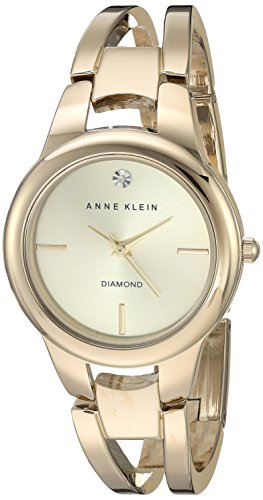 Anne Klein Women's AK/2628CHGB Diamond-Accented Dial Gold-Tone Open Bangle Watch