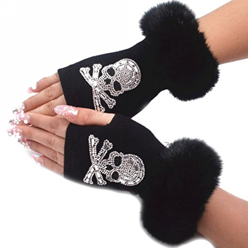 Women Winter Rhinestone Knit Faux Fur Fingerless Glove Mitten Cute Wrist Warmer by Funbase